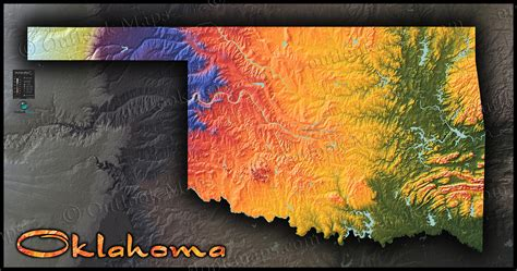 topographical map of oklahoma oklahoma physical features map colorful topography terrain