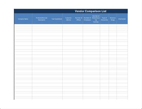Vendor Comparison List Template Word Excel Templates Vendor Comparison Spreadsheet Template