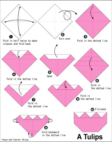 Origami Flower Diagrams - tulips2 easy origami for
