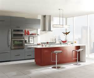 gray cabinets with red kitchen island omega cabinetry view more kitchens