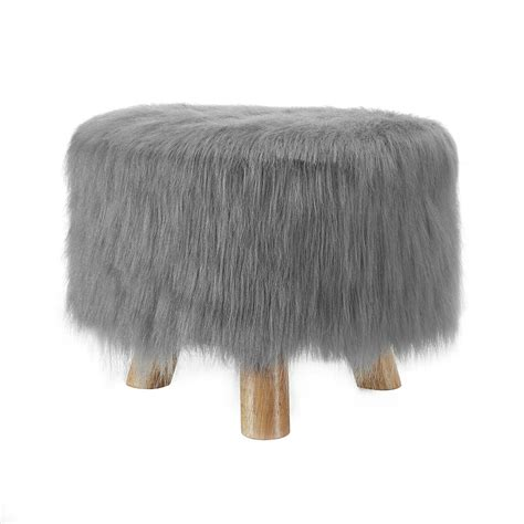 Faux Fur Ottoman Linon Gray Faux Fur Stool Home Furniture Accent Furniture Accent Benches Stools