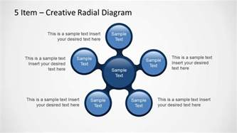 creative radial diagram for powerpoint with 5 items