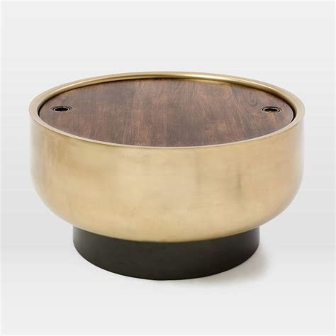 gold and wood coffee table drum storage gold wood coffee table
