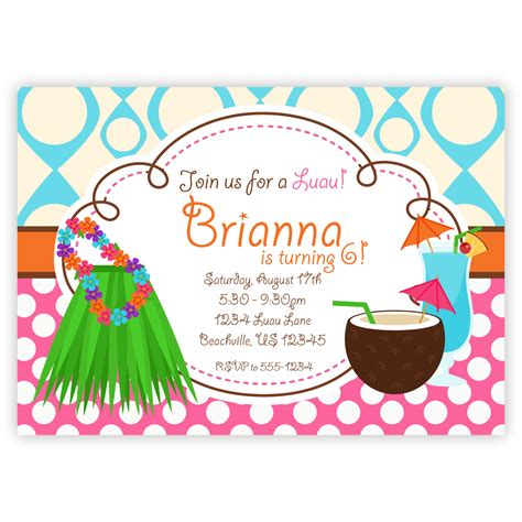 card template hawaian birthday invitations awesome hawaiian invitations