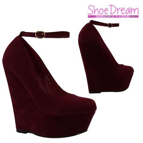 w8a burgundy suede high heel court wedges