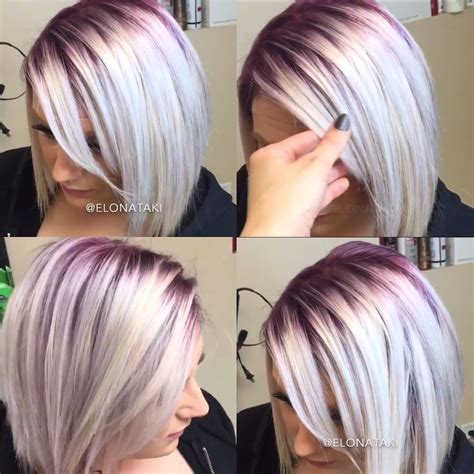 colored roots silver hair with purple roots hair color