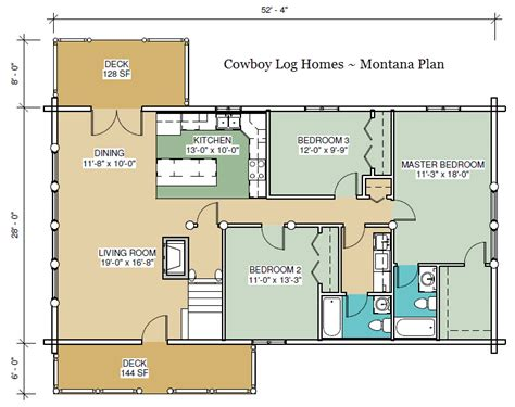 montana floor plan 2 056 sq ft cowboy log homes