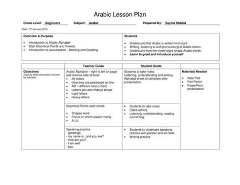 basics arabic lesson plan  saymashahid teaching resources