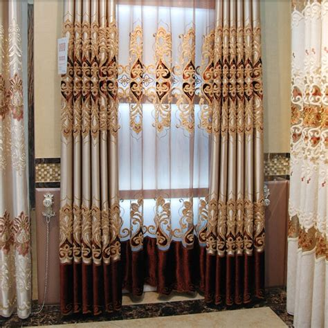European Style Curtains High End Luxury European Style Thick Embroidery Faux Silk Blackout Curtain