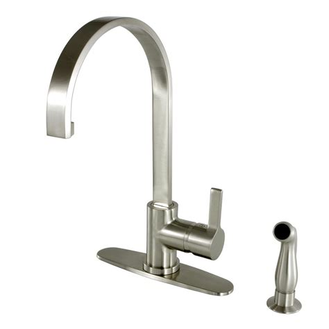 kingston kitchen faucets kingston brass single handle standard kitchen faucet with side sprayer in satin nickel