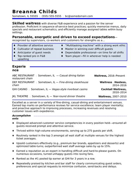 Resume For Waitress by Waitress Resume Sle