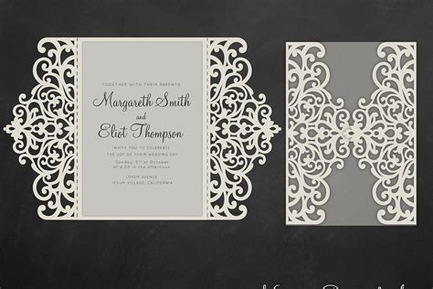 shillouette gate fold card template gate fold wedding invitation 5x7 cri design bundles