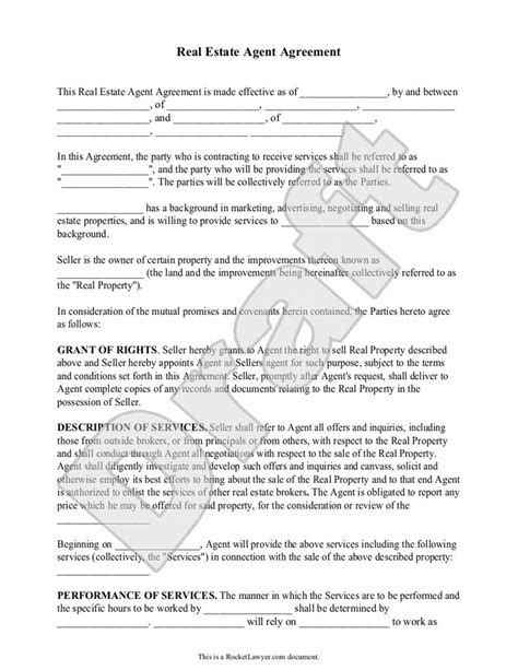 real estate broker agreement template broker contract free