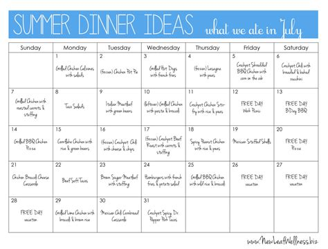 dinner menu ideas summer dinner ideas new leaf wellness
