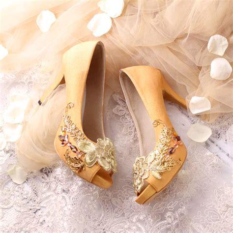 High Heels Wanita Lhr 885 Coklat sepatu peeptoe rosanne emas