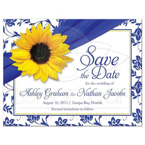 Wedding Invitation Yellow And Blue by Wedding Save The Date Announcement Sunflower Royal Blue Damask