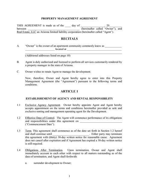 property contract template property management contract template