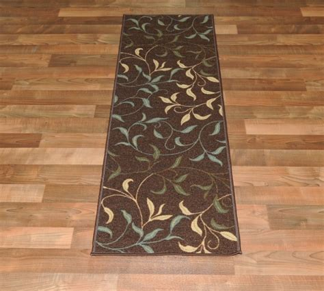 rubber backed runner rugs new leafs chocolate floral design rubber backed non slip runner rug carpet ebay