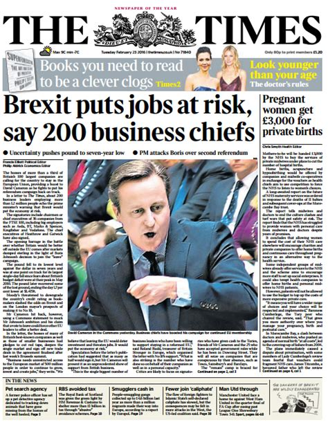 Sink Doctor by The Times Front Page Brexit Puts Jobs At Risk Say 200