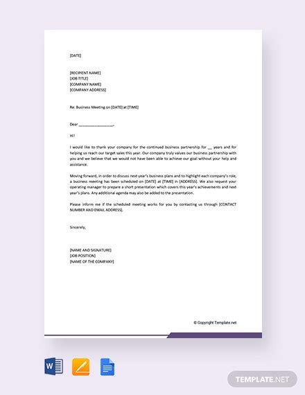 business invitation letter meeting template