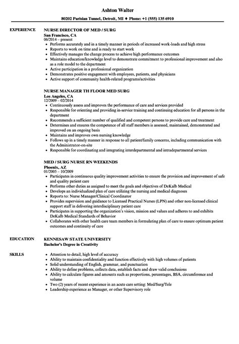 Cna Home Health Care Resume Exles by Wondrous Med Surg Resume Looking Exles Of Rn