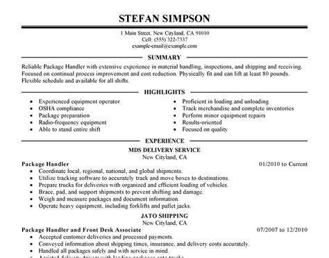 Package Handler Resume by Ups Package Handler Resume Sle Sle Resume