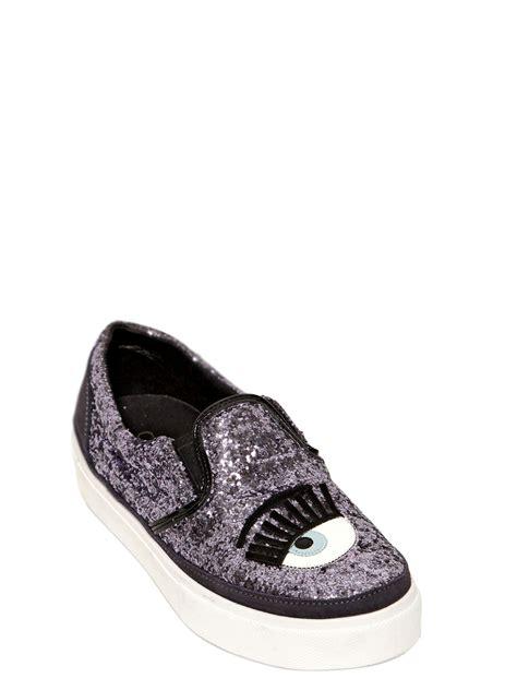 chiara ferragni glitter sneakers chiara ferragni 30mm blink eye glitter slip on sneakers in