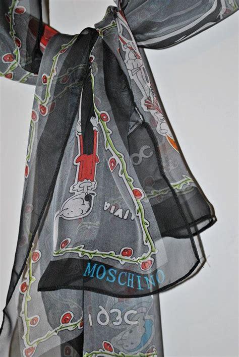 Update Stock Mischino moschino olive oyl silk scarf made in italy grey