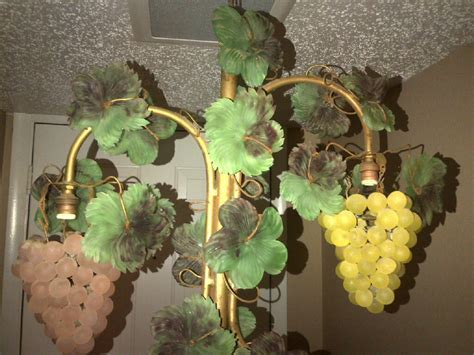 3 Vintage Czech Glass Beaded Grape Shade Cluster Fruit
