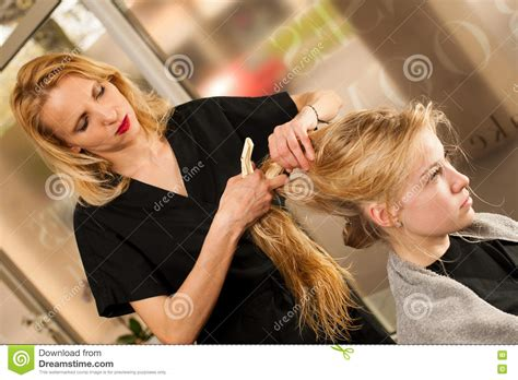 Professional Hair Stylist by Professional Hair Stylist At Work Hairdresser Doing