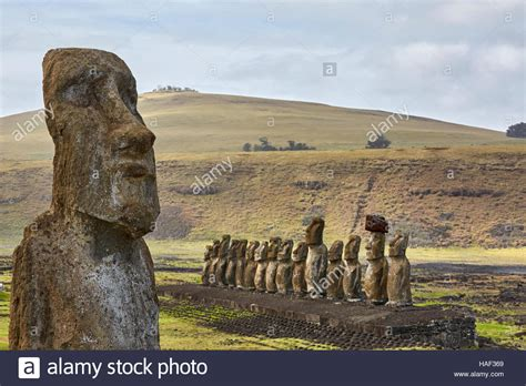 traveling to easter island traveling moai ahu tongariki easter island stock photo
