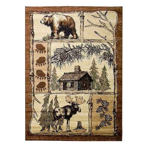 moose area rugs donnieann lodge moose and brown 5 ft x 7 ft indoor area rug lg362 the home depot