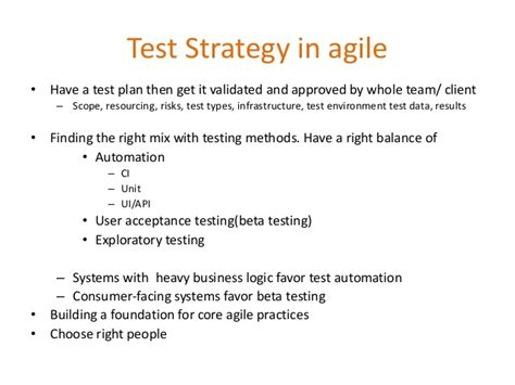 test plan template agile testing strategy for agile projects updated