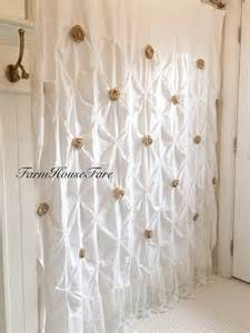 White Burlap Curtains Burlap Ruffle Shower Curtain White Cotton With By Farmhousefare