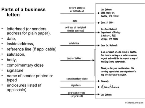 Parts Of A Business Letter For Students formation of business letter