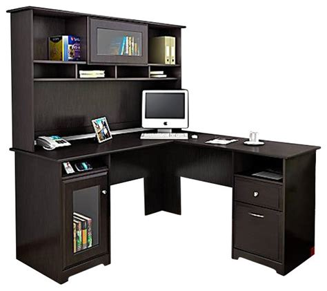 Bush Cabot L Shape Computer Desk With Hutch In Espresso Espresso Desk With Hutch