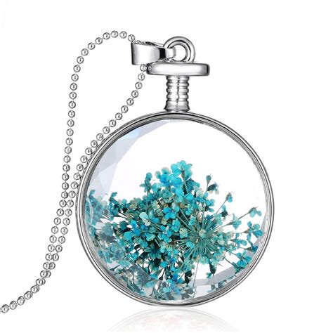clear glass pendants for jewelry bling silver dried real flower clear glass locket pendant