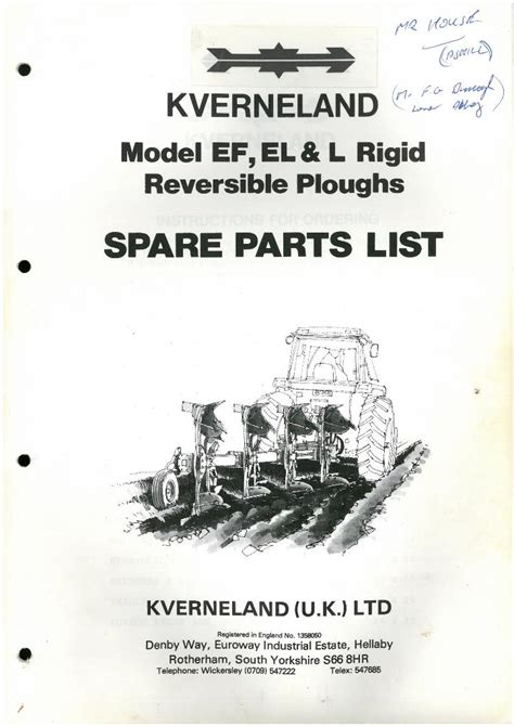 L Parts by Kverneland Reversible Plough Model Ef El L Parts Manual