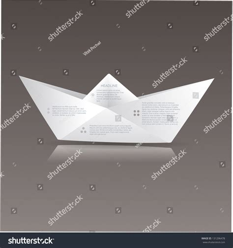 Origami Sign - vector paper origami boat paper sign stock vector