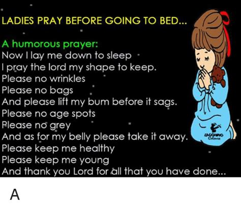prayer before you go to bed ladies pray before going to bed a humorous prayer now l