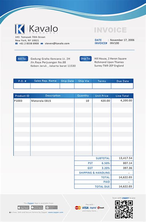 exles of invoice templates zapper bills sle invoices