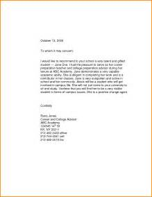 cover letter sle for high school students 11 scholarship recommendation letter for high school