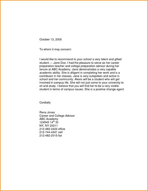 Reference Letter For A Student From A Lecturer 11 scholarship recommendation letter for high school