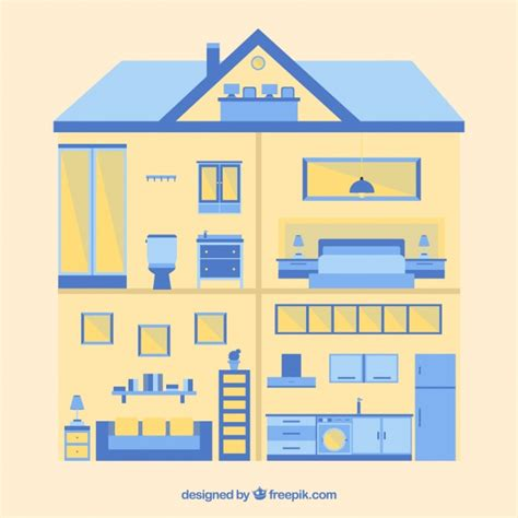 home interior in flat design with blue details vector