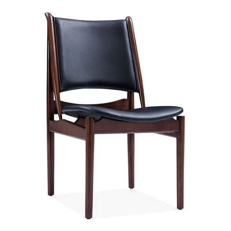 Black Faux Leather Jonah Dining Chair Wooden Kitchen Chairs Faux Leather Dining Chair