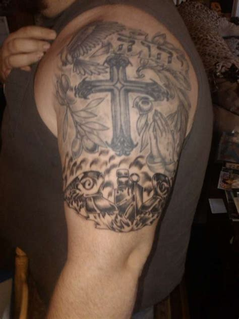 religious half sleeve tattoo designs for men cross half sleeve religious designs