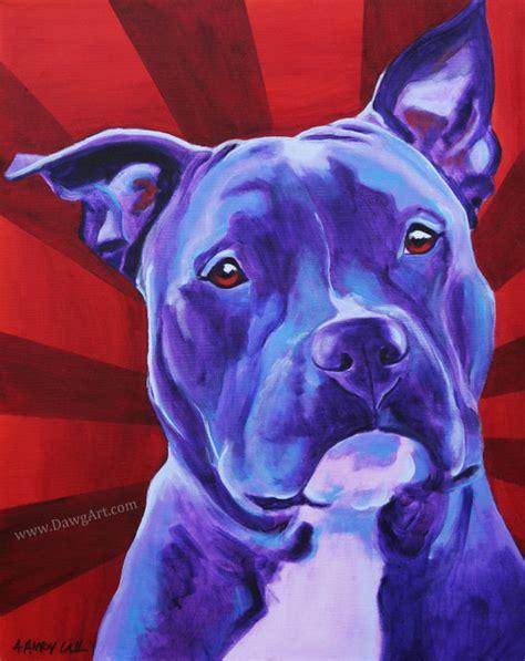 pit paint colorful pet portrait pit bull print by dawgpainter