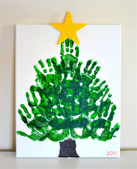 handprint christmas tree keepsake on canvas parent gift