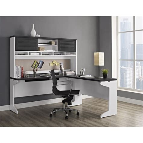 Best Desk L For by L Shaped Desk With Hutch In White And Gray 9849296