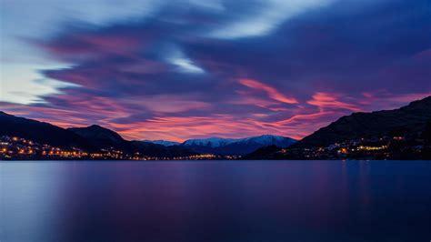 horizon lake dawn  mountains wallpaper hd nature
